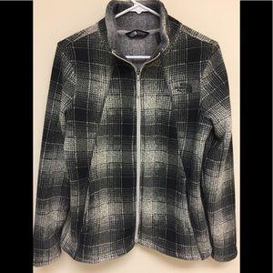 The North Face gray & cream plaid fleece jacket M